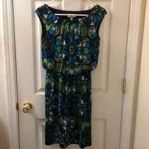 Maggy L blue and green pullover dress size 4
